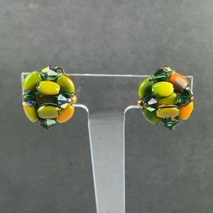 Vintage green orange crystal bead earrings